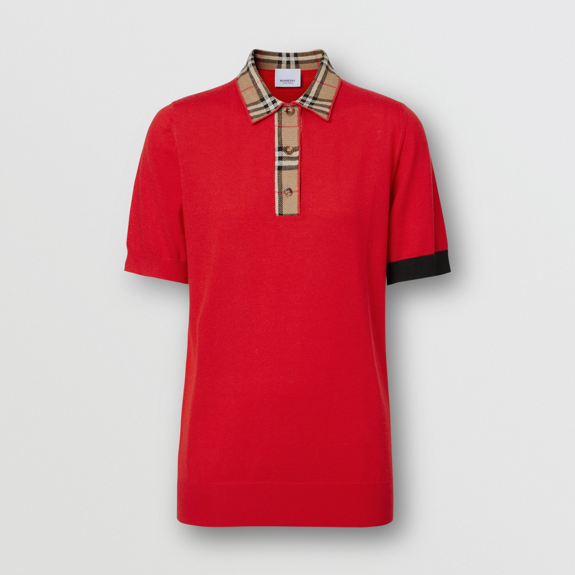 Vintage Check Trim Merino Wool Polo Shirt in Bright Red - Women | Burberry United Kingdom - gallery image 3