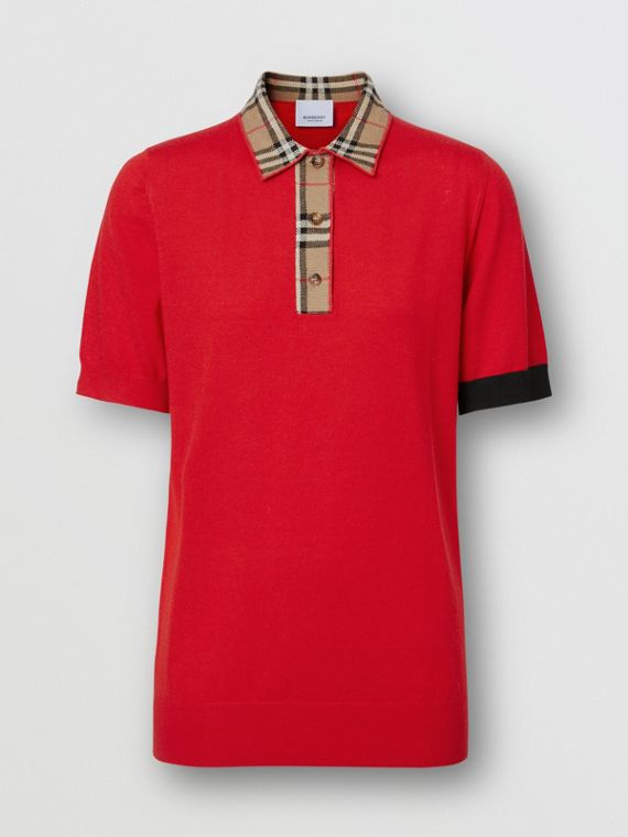 Vintage Check Trim Merino Wool Polo Shirt in Bright Red