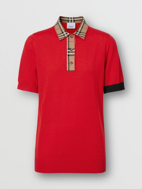 Vintage Check Trim Merino Wool Polo Shirt in Bright Red - Women | Burberry United Kingdom - cell image 3