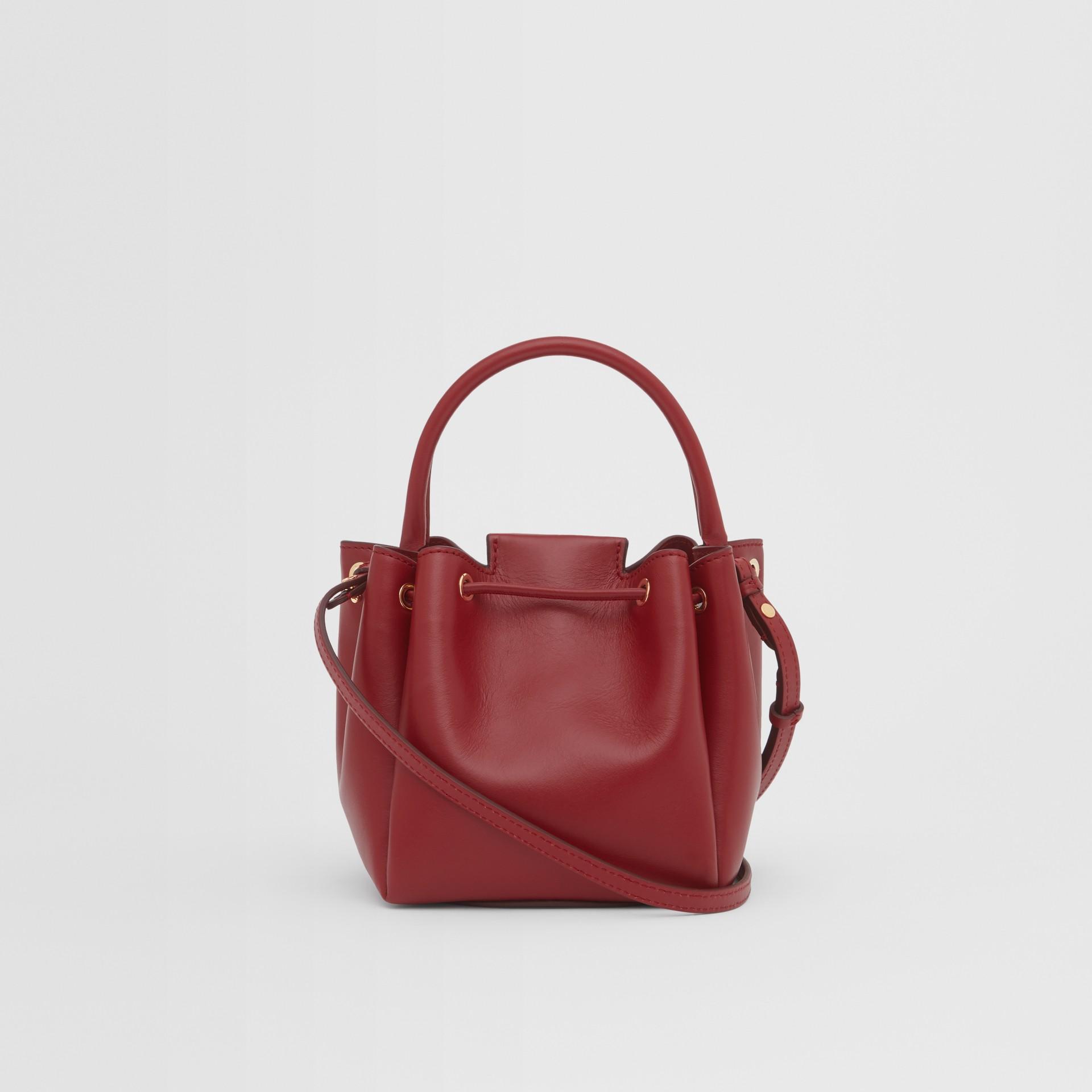 Monogram Motif Leather Bucket Bag in Dark Carmine - Women | Burberry United States - gallery image 5