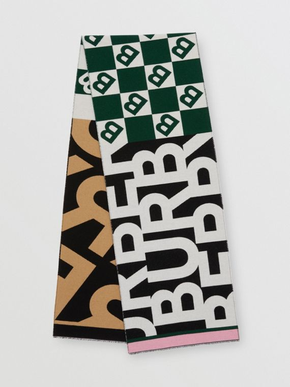 Contrast Logo Graphic Wool Silk Jacquard Scarf in Dark Pine Green