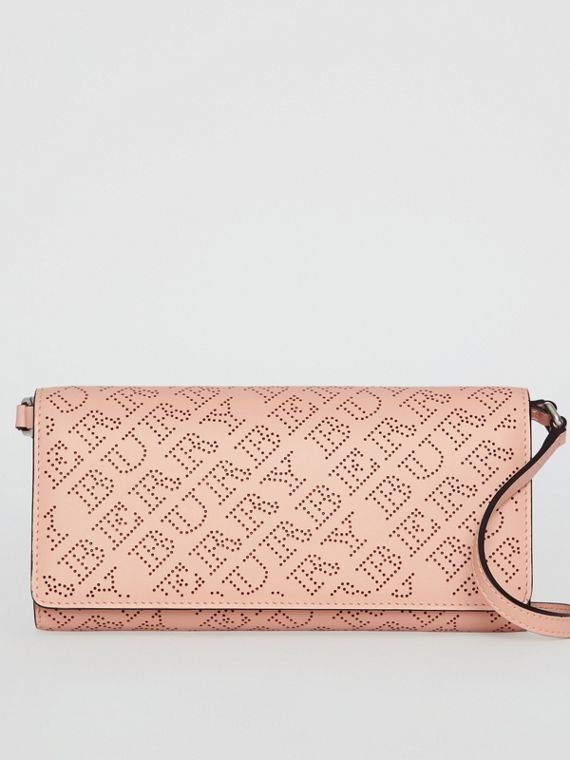 Perforated Logo Leather Wallet with Detachable Strap in Pale Fawn Pink
