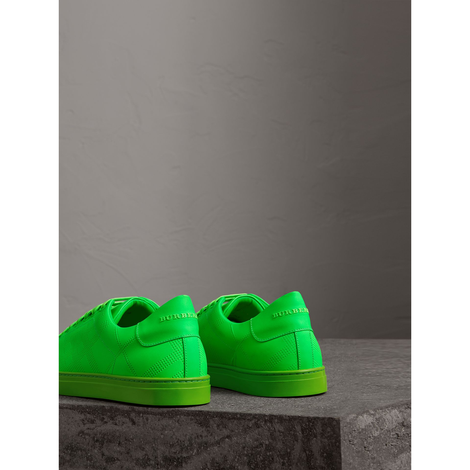 Perforated Check Leather Trainers in Neon Green - Men | Burberry - gallery image 3