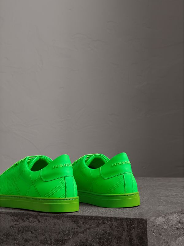 Perforated Check Leather Sneakers in Neon Green - Men | Burberry - cell image 3