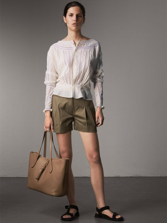 Medium Grainy Leather Tote Bag in Dark Sand - Women | Burberry Australia - cell image 2