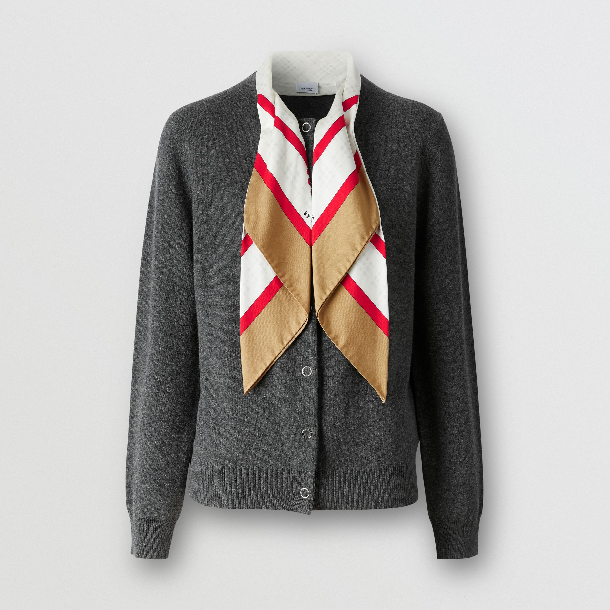 Silk Scarf Detail Cashmere Cardigan in Grey Melange - Women | Burberry - 4