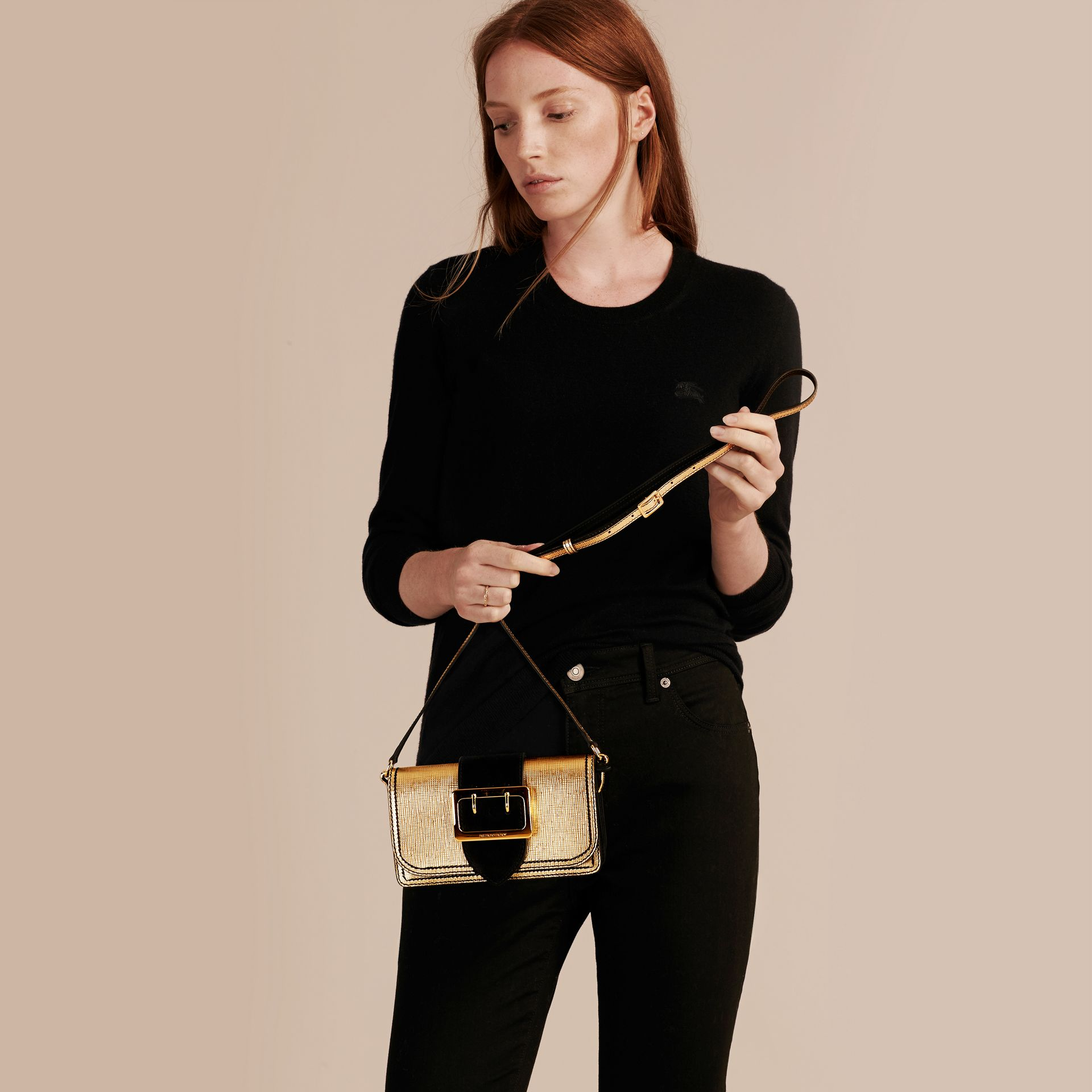 Gold/black The Small Buckle Bag in Metallic Leather and Suede - gallery image 3