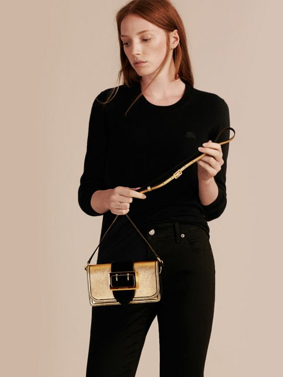 Gold/black The Small Buckle Bag in Metallic Leather and Suede - cell image 2