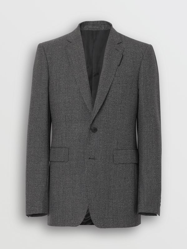 English Fit Puppytooth Check Wool Suit in Charcoal Melange - Men | Burberry - cell image 2