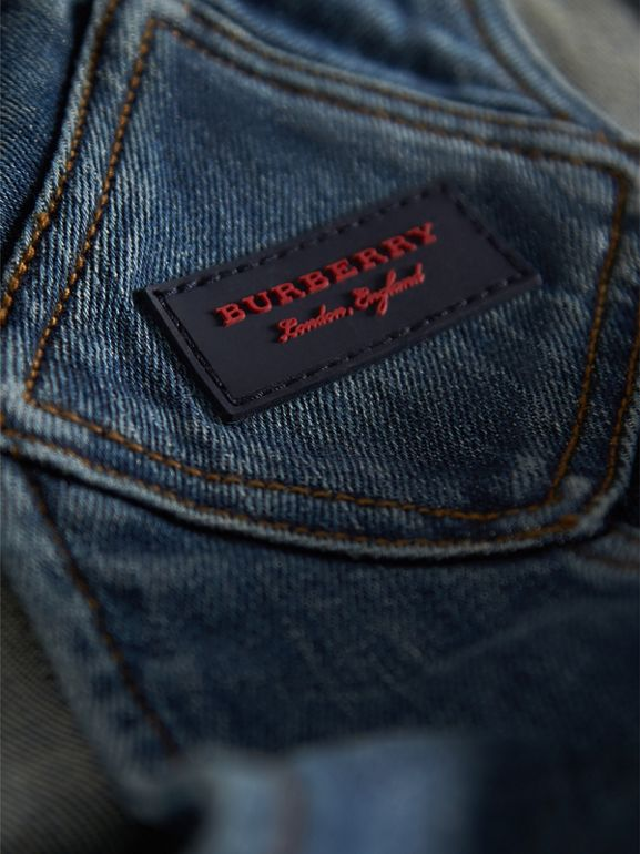 Stretch Denim Dungarees in Mid Indigo | Burberry - cell image 1
