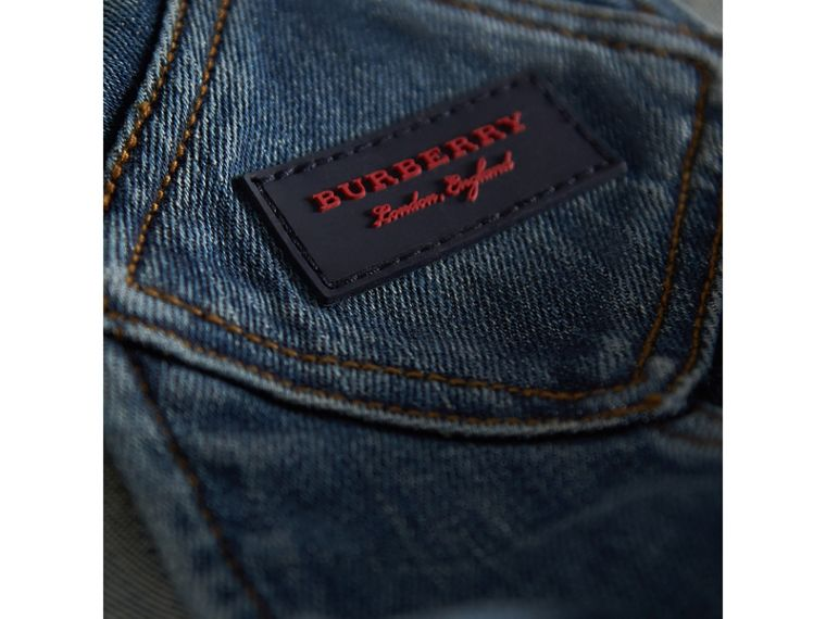 Stretch Denim Dungarees in Mid Indigo - Girl | Burberry - cell image 1