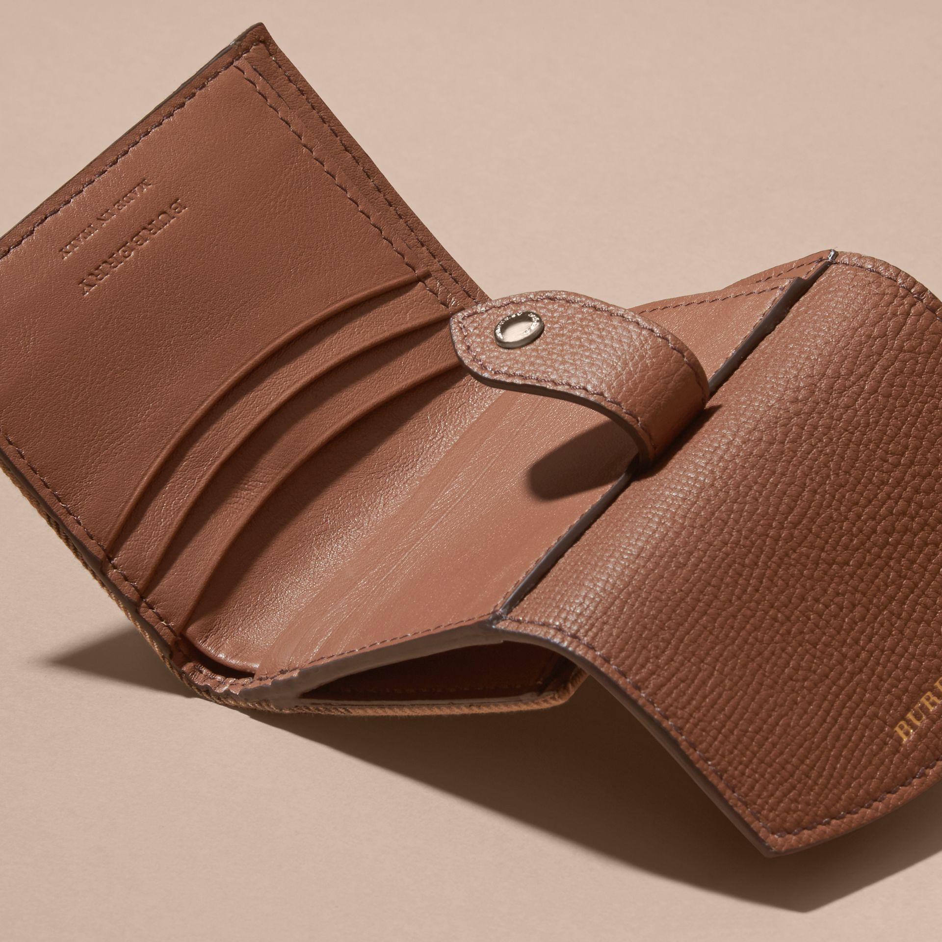 House Check and Leather Wallet in Tan - Women | Burberry - gallery image 6