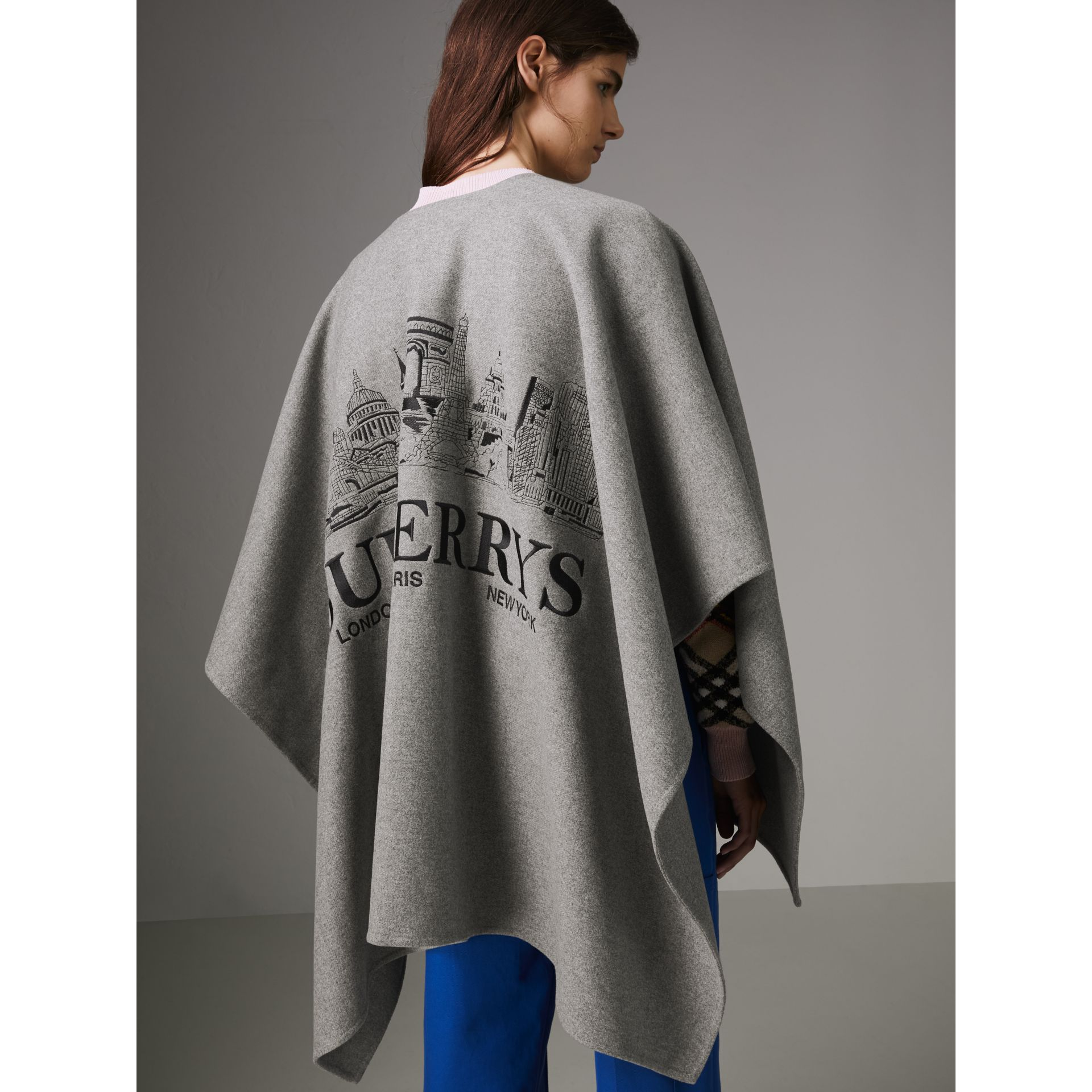 Embroidered Skyline Cashmere Poncho in Pale Grey Melange - Women | Burberry Singapore - gallery image 2
