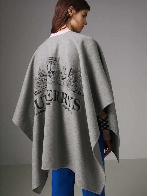 Embroidered Skyline Cashmere Poncho in Pale Grey Melange - Women | Burberry - cell image 2