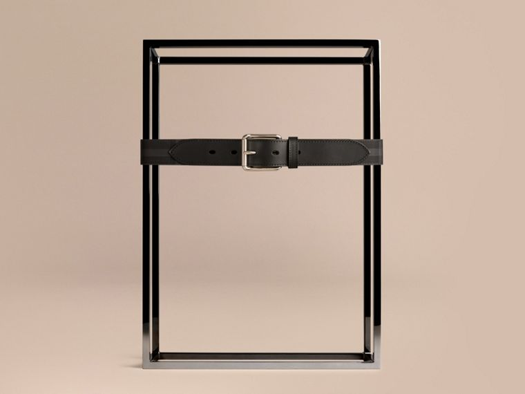 Horseferry Check and Leather Belt in Charcoal/black - cell image 1
