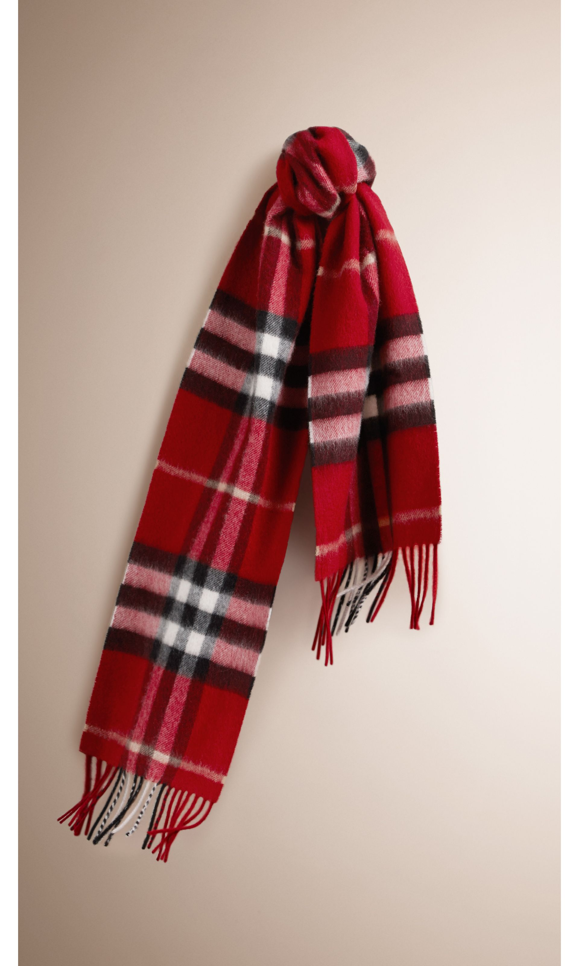 Check Cashmere Scarf in Parade Red | Burberry United States - gallery image 0