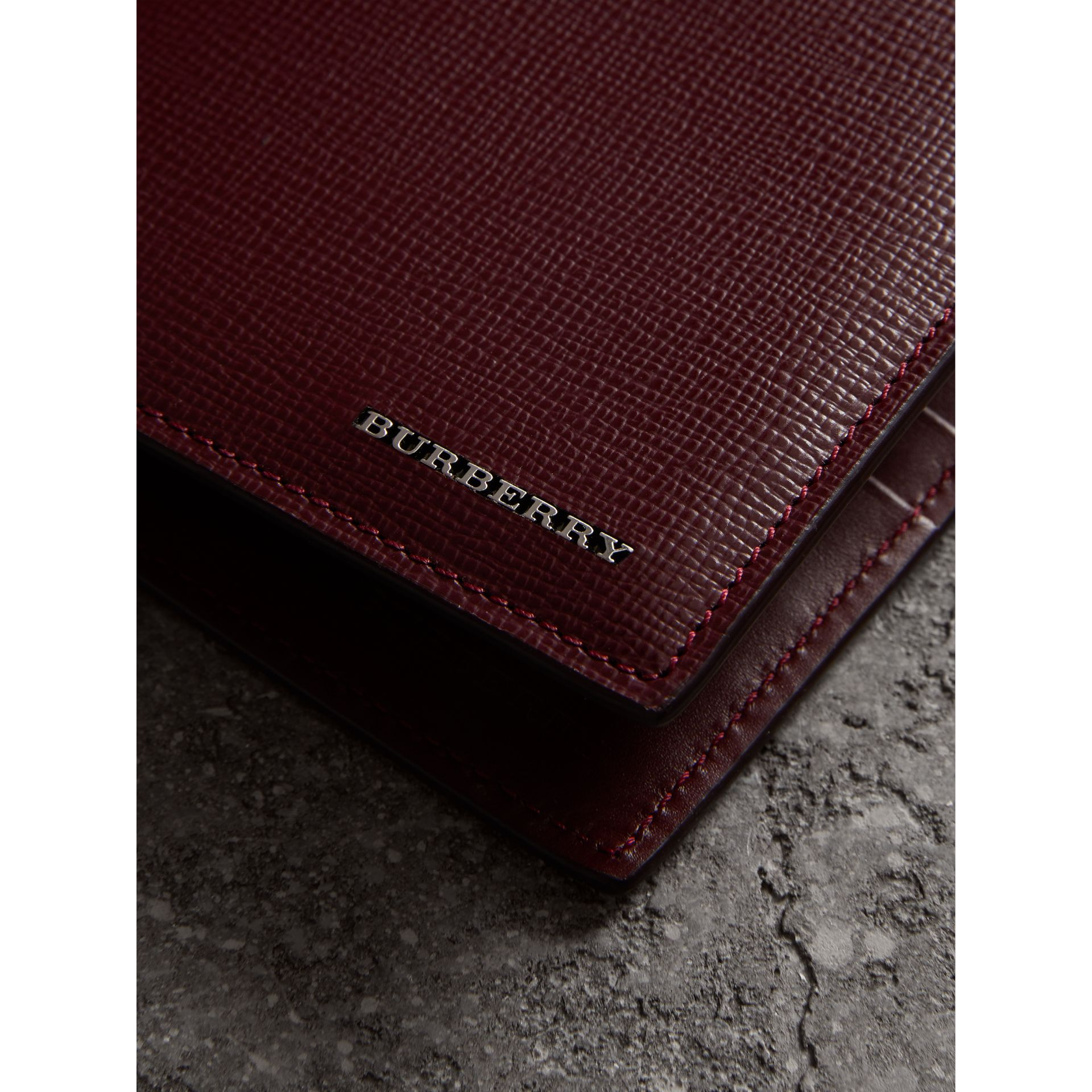 London Leather International Bifold Wallet in Burgundy Red | Burberry - gallery image 1