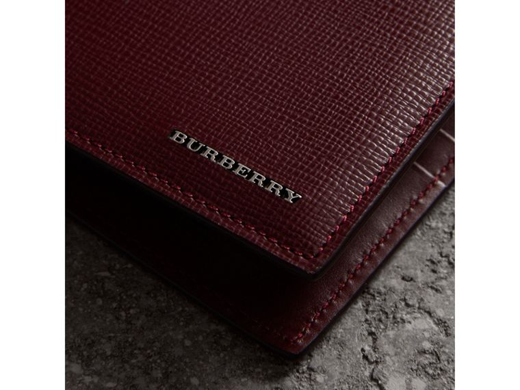 London Leather International Bifold Wallet in Burgundy Red | Burberry Singapore - cell image 1