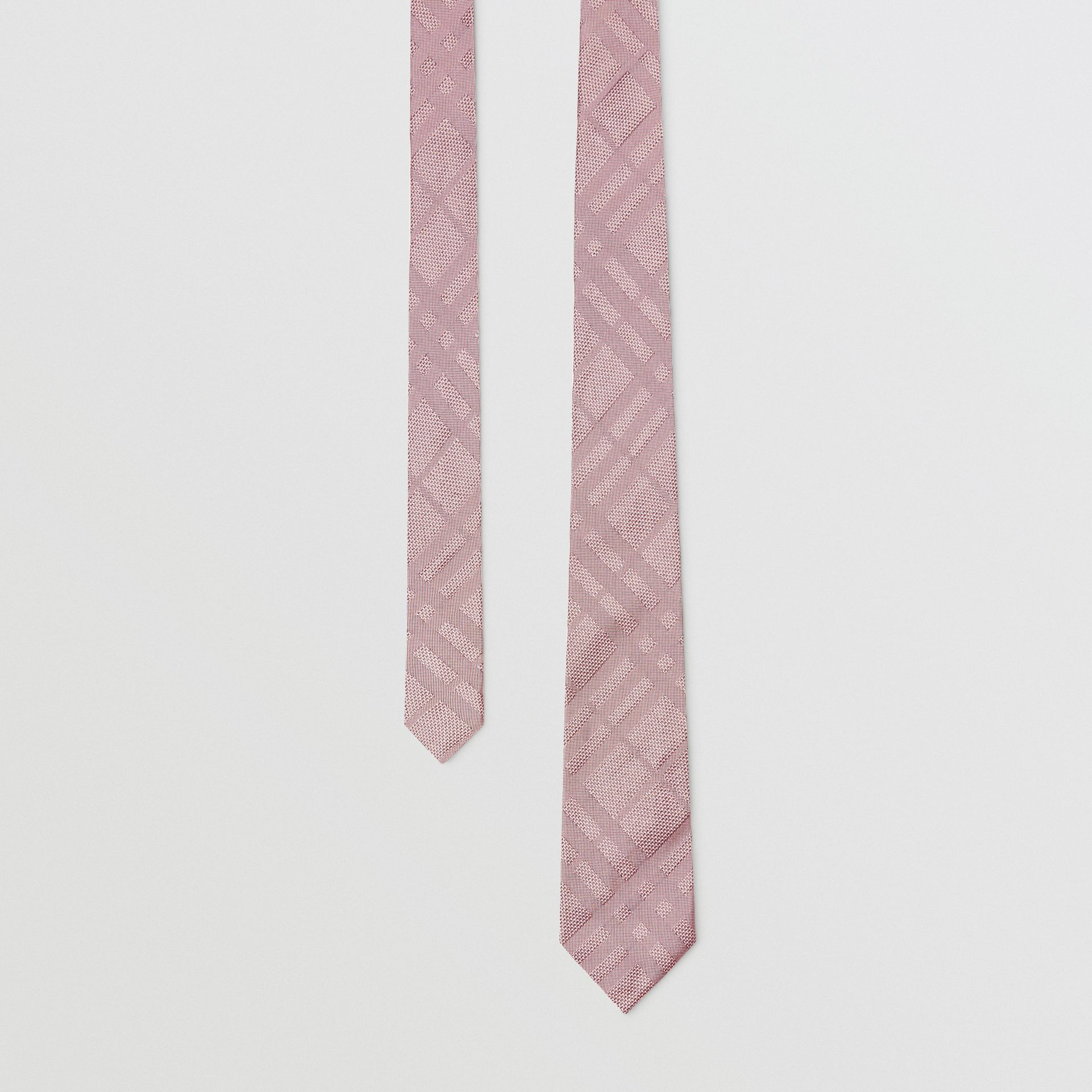 Modern Cut Check Silk Jacquard Tie in Alabaster Pink - Men | Burberry Australia - gallery image 0