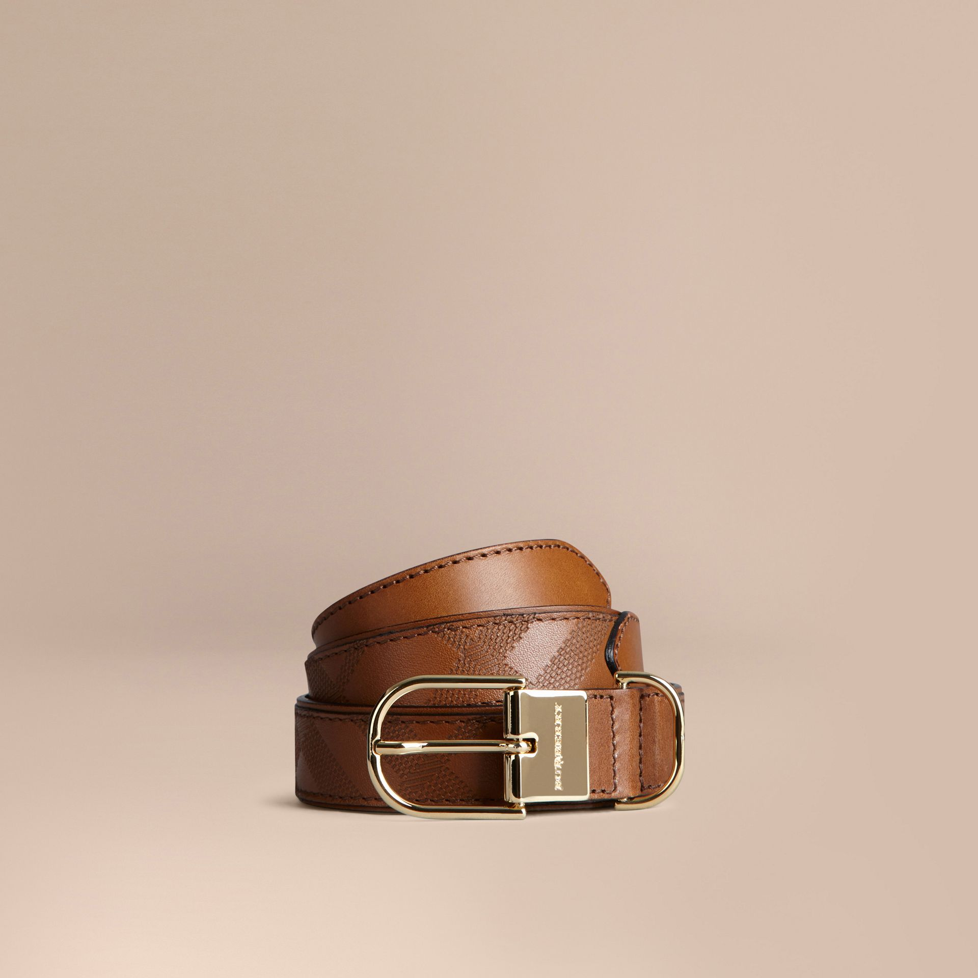Tan Embossed Check London Leather Belt Tan - gallery image 1