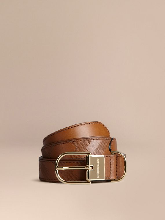 Embossed Check London Leather Belt Tan
