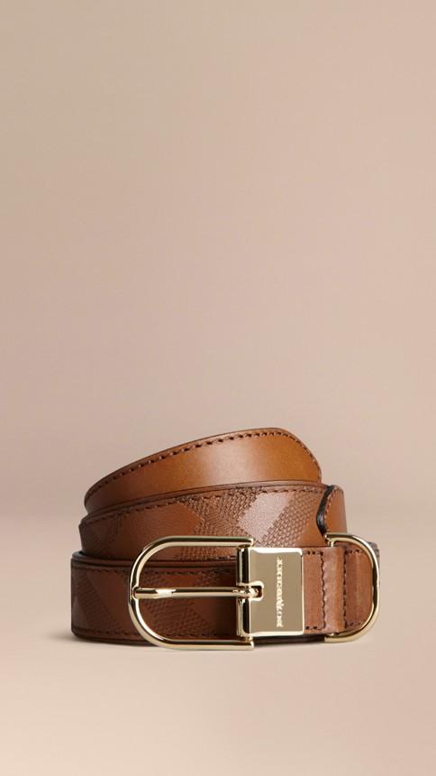 Tan Embossed Check London Leather Belt Tan - Image 1