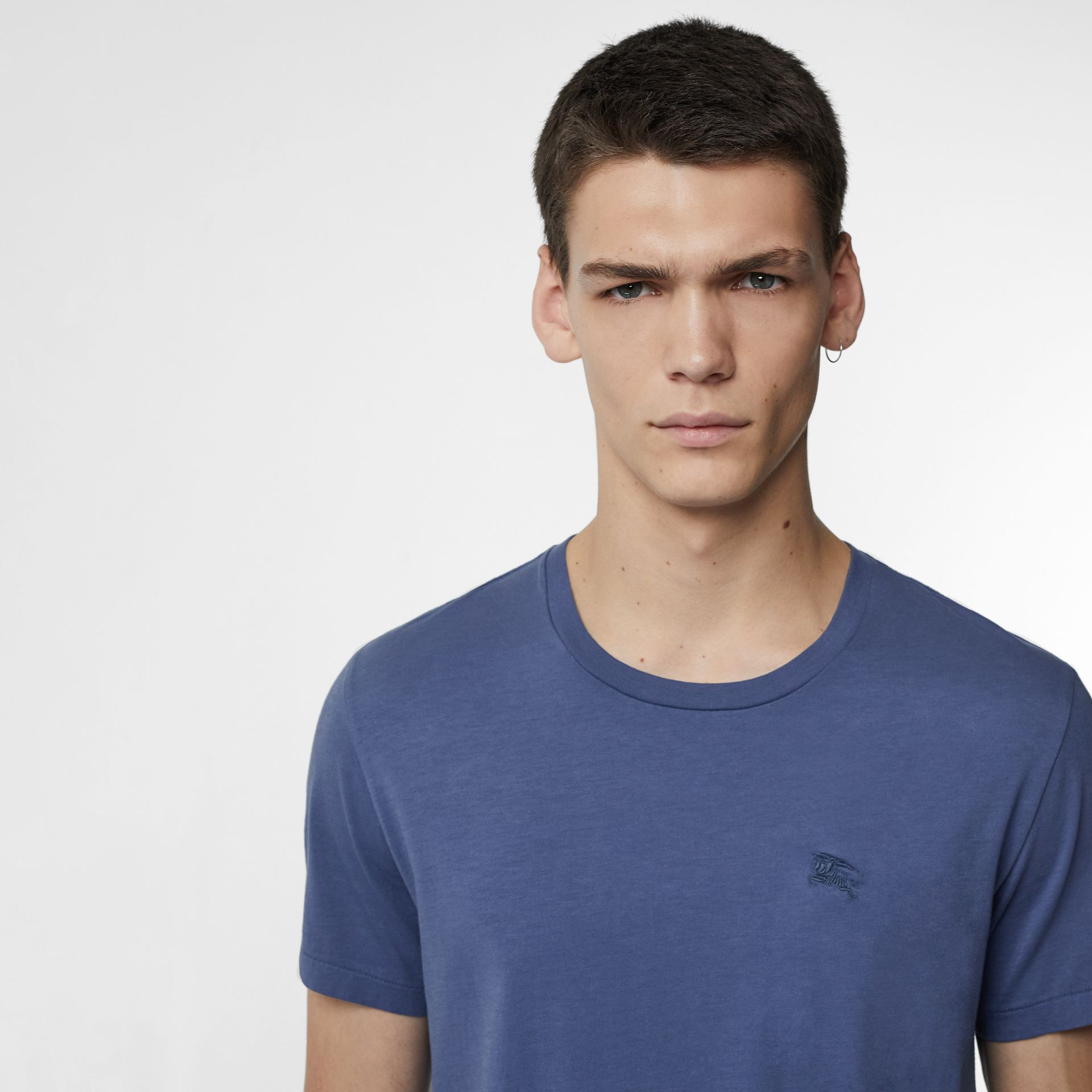 Cotton T-shirt in Pebble Blue - Men | Burberry - gallery image 1