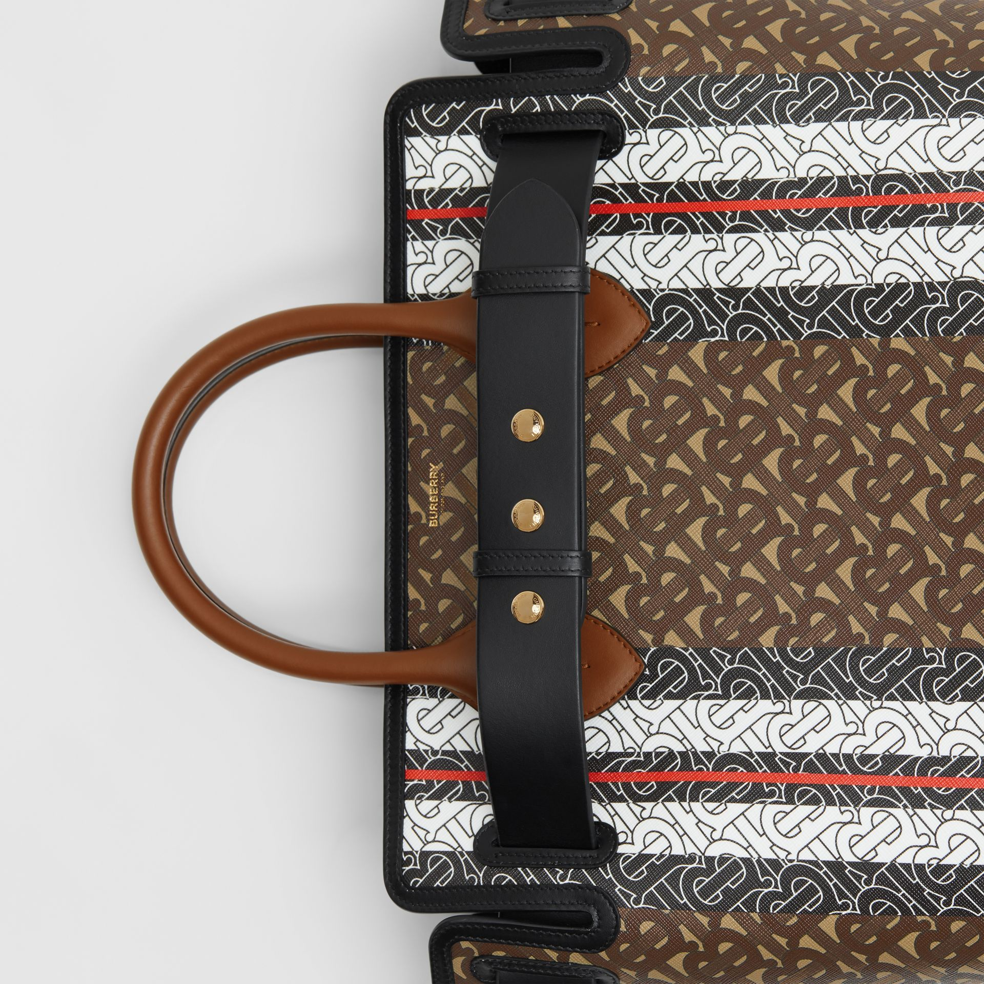 The Medium Monogram Stripe E-canvas Belt Bag in Bridle Brown - Women | Burberry - gallery image 1