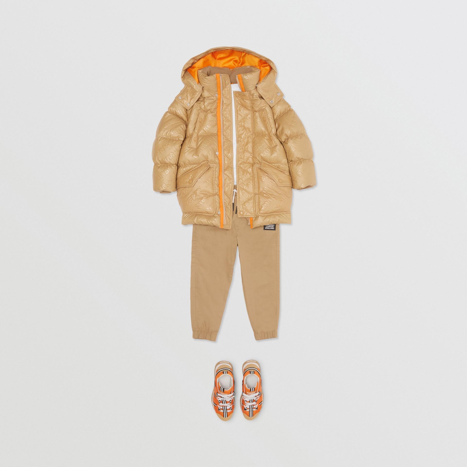 Detachable Hood Embossed Logo Puffer Coat in Honey | Burberry - gallery image 3