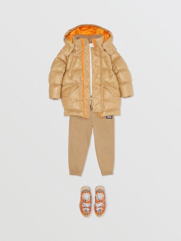 Detachable Hood Embossed Logo Puffer Coat in Honey | Burberry - cell image 3