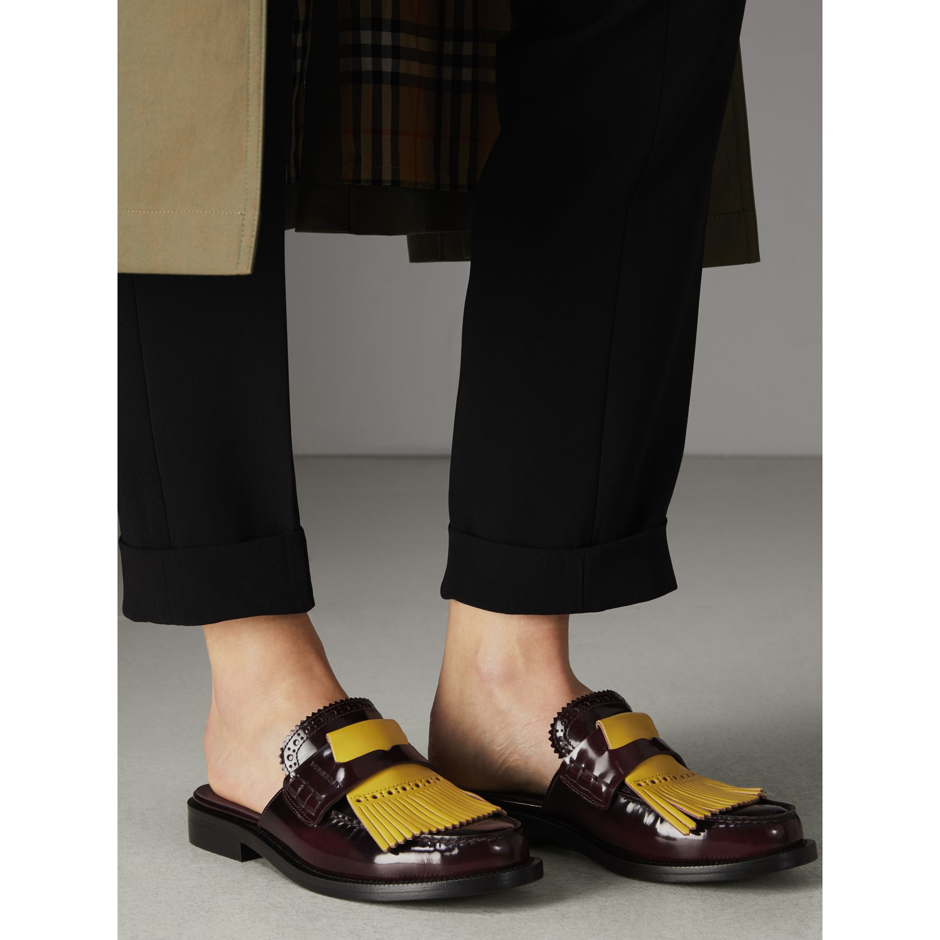 Contrast Kiltie Fringe Leather Mules in Burgundy - Women | Burberry - gallery image 2