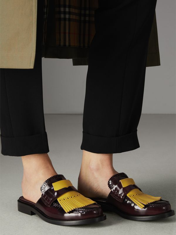 Contrast Kiltie Fringe Leather Mules in Burgundy - Women | Burberry - cell image 2