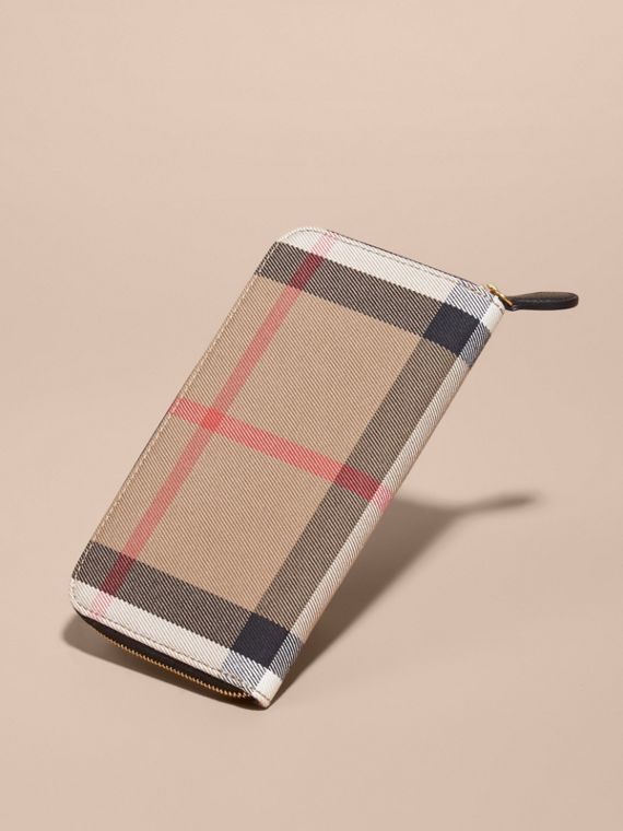 House Check and Leather Ziparound Wallet in Black - Women | Burberry Canada - cell image 2