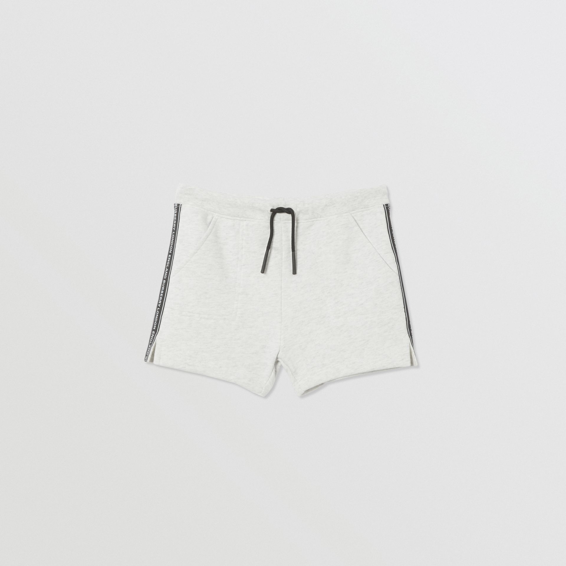 Logo Tape Cotton Drawcord Shorts in White Melange | Burberry United Kingdom - gallery image 0