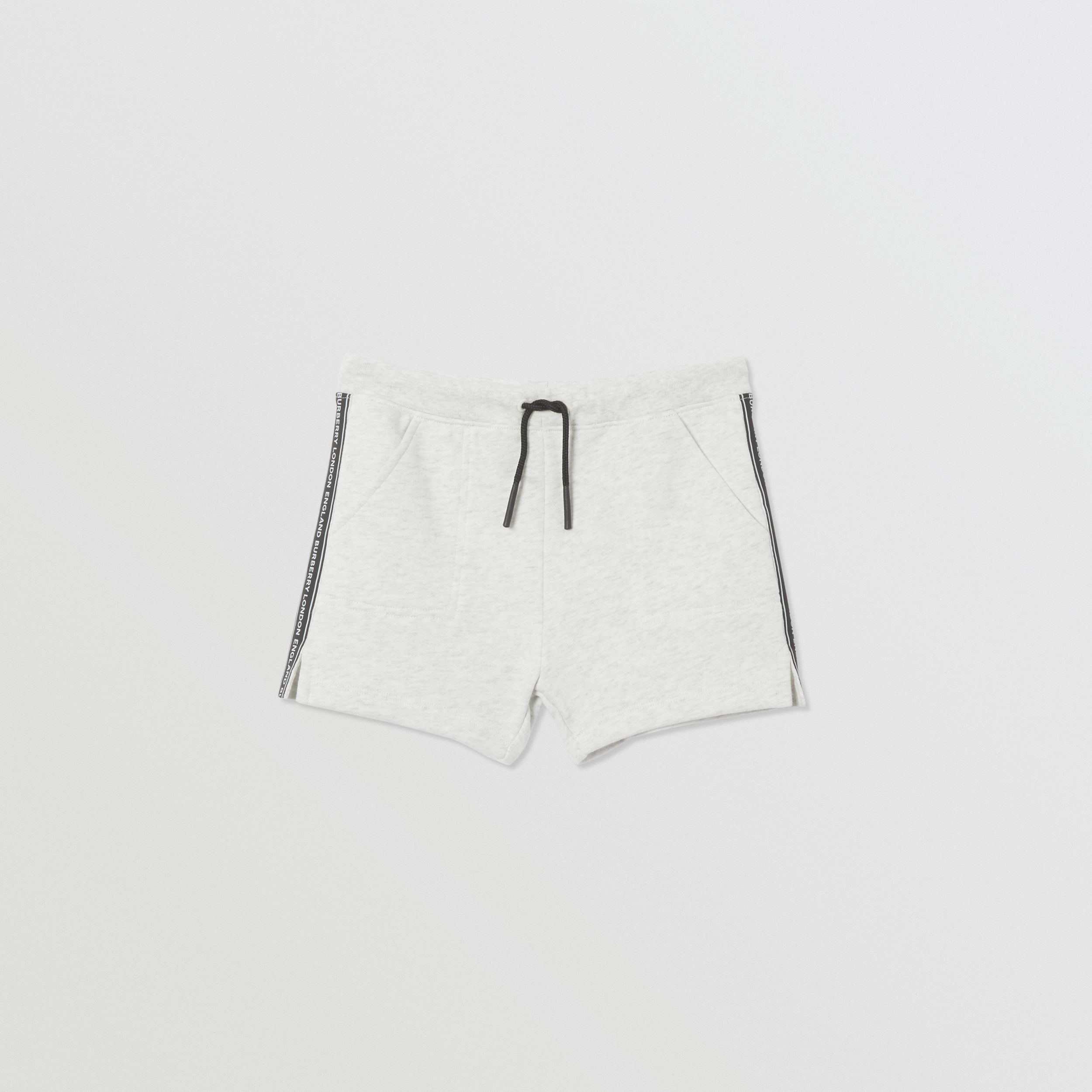 Logo Tape Cotton Drawcord Shorts in White Melange | Burberry Australia - 1
