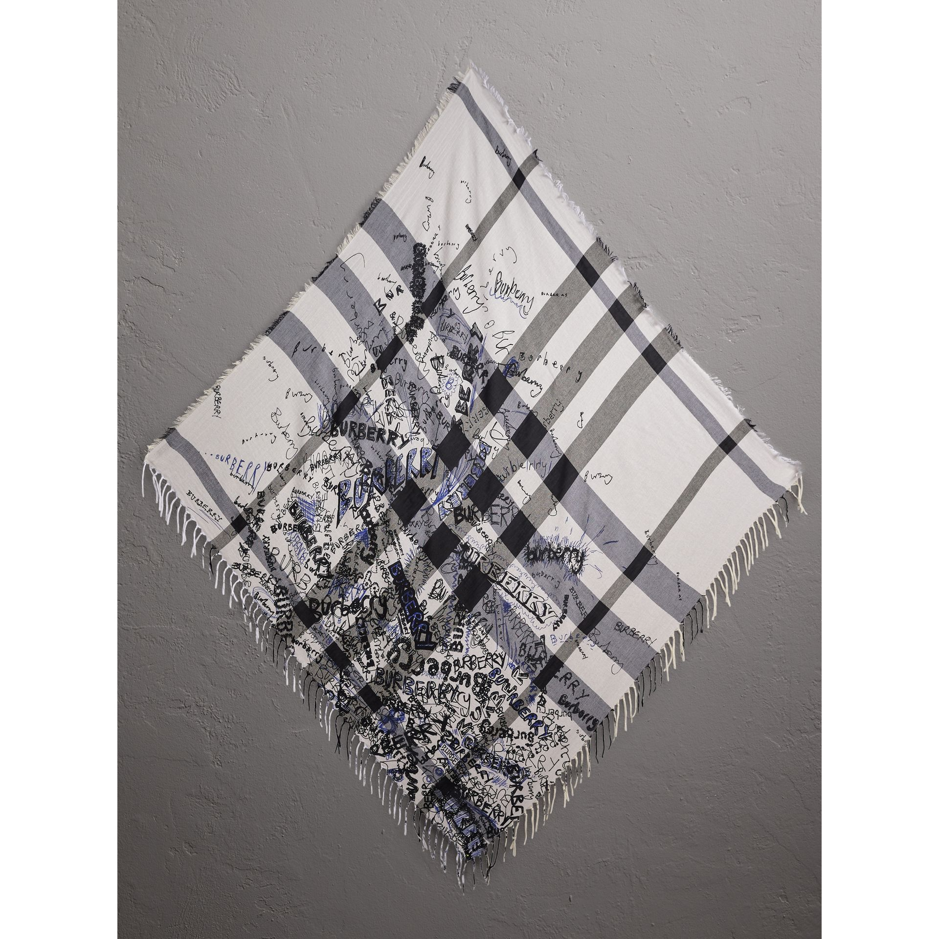 Doodle Print Check Silk Cotton Square Scarf in White/ink Blue | Burberry - gallery image 1