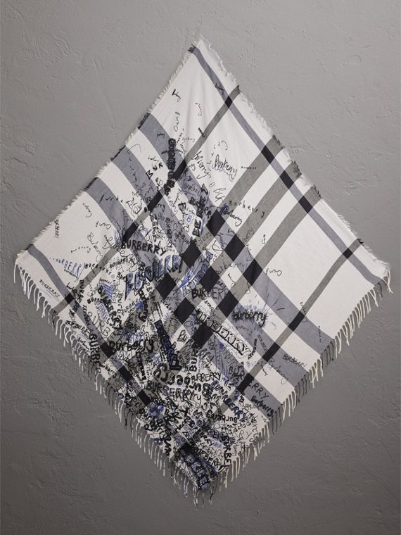 Doodle Print Check Silk Cotton Square Scarf in White/ink Blue