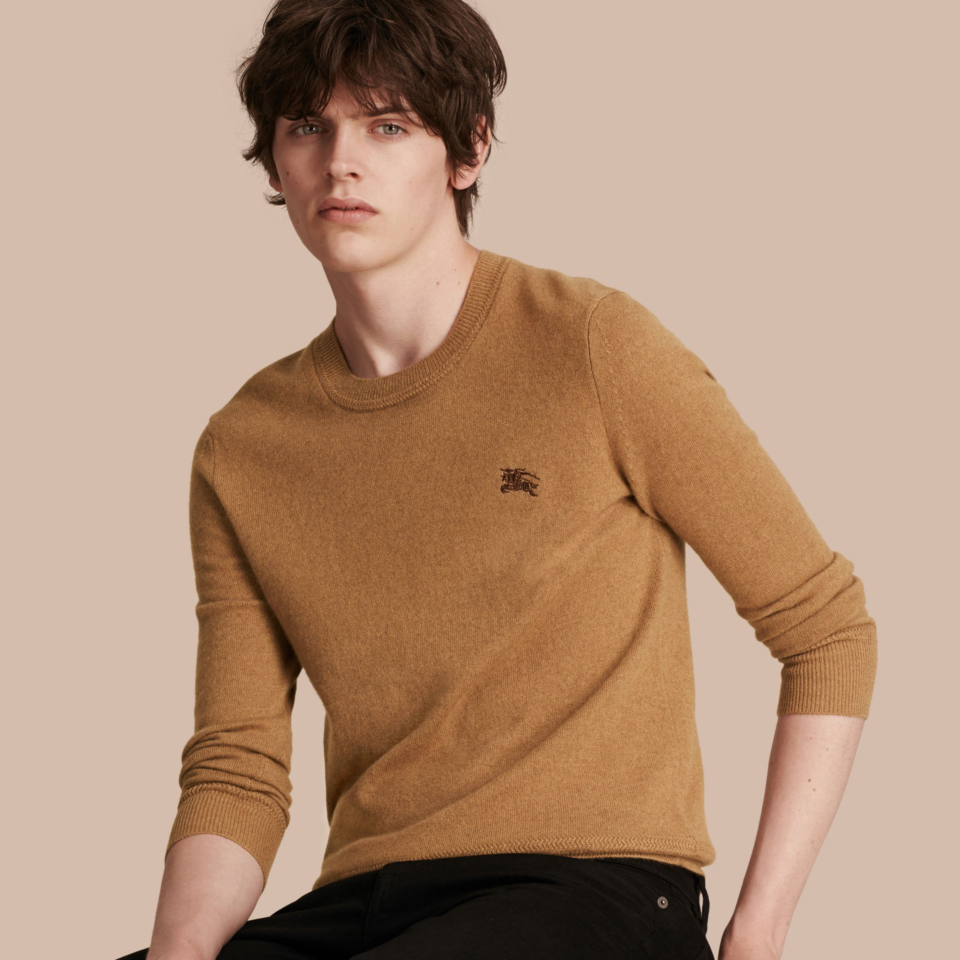 Mid camel Crew Neck Cashmere Sweater Mid Camel - gallery image 1