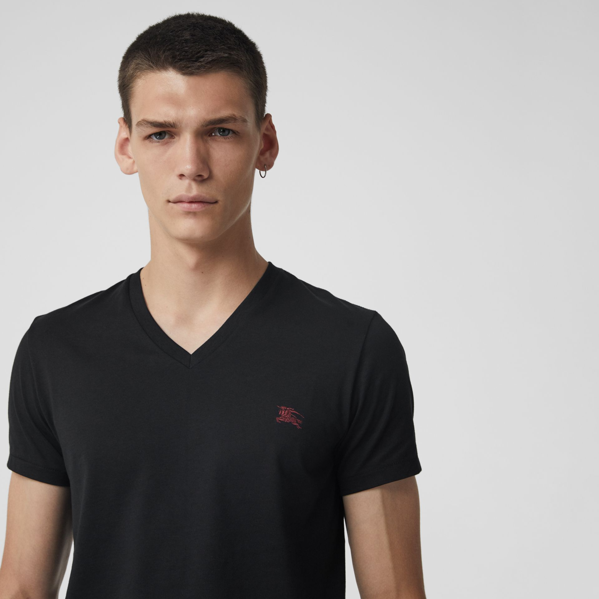 Cotton Jersey V-neck T-shirt in Black - Men | Burberry Canada - gallery image 1