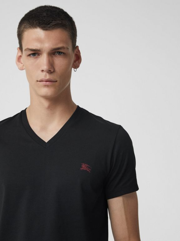 Cotton Jersey V-neck T-shirt in Black - Men | Burberry - cell image 1