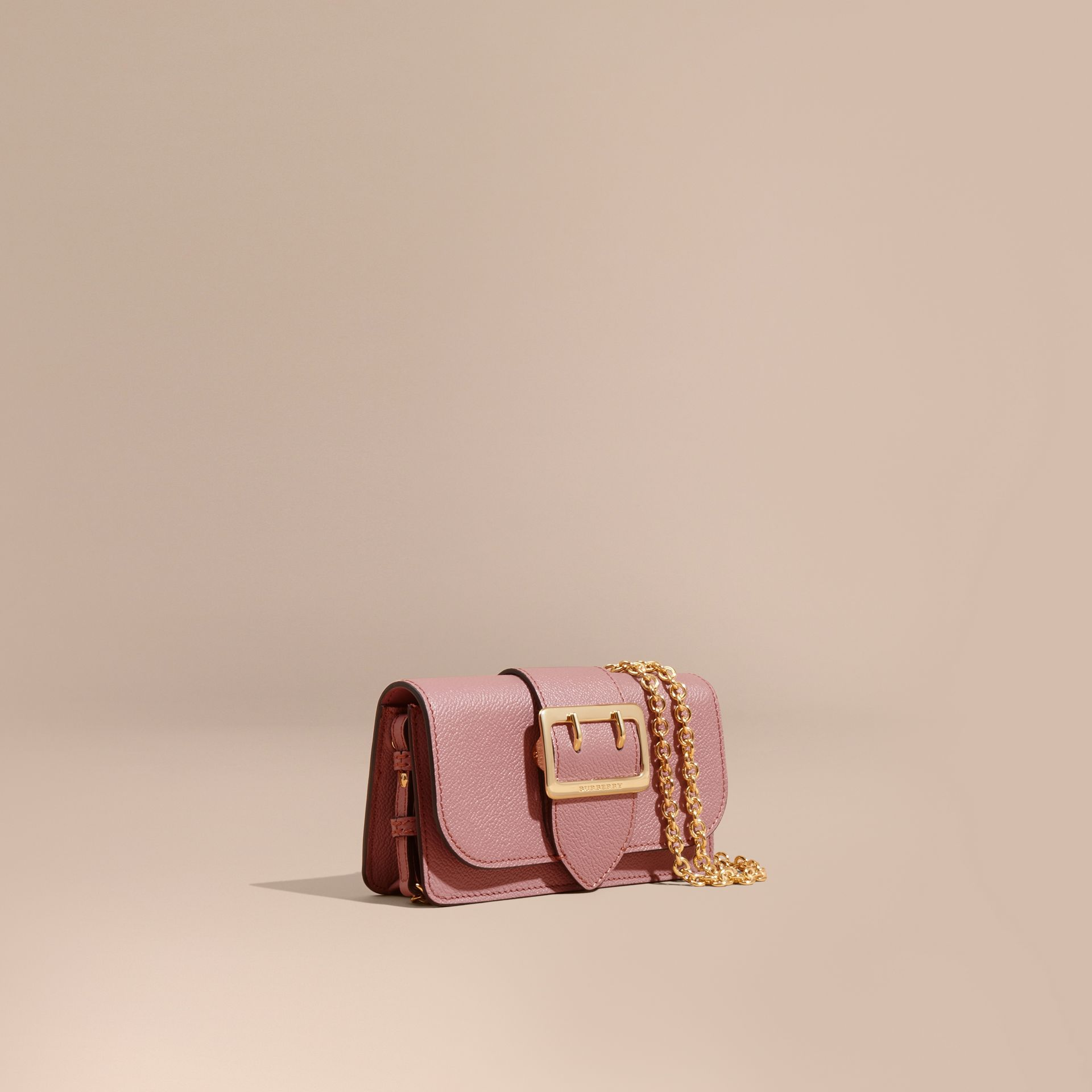 The Mini Buckle Bag in Grainy Leather Dusty Pink - gallery image 1