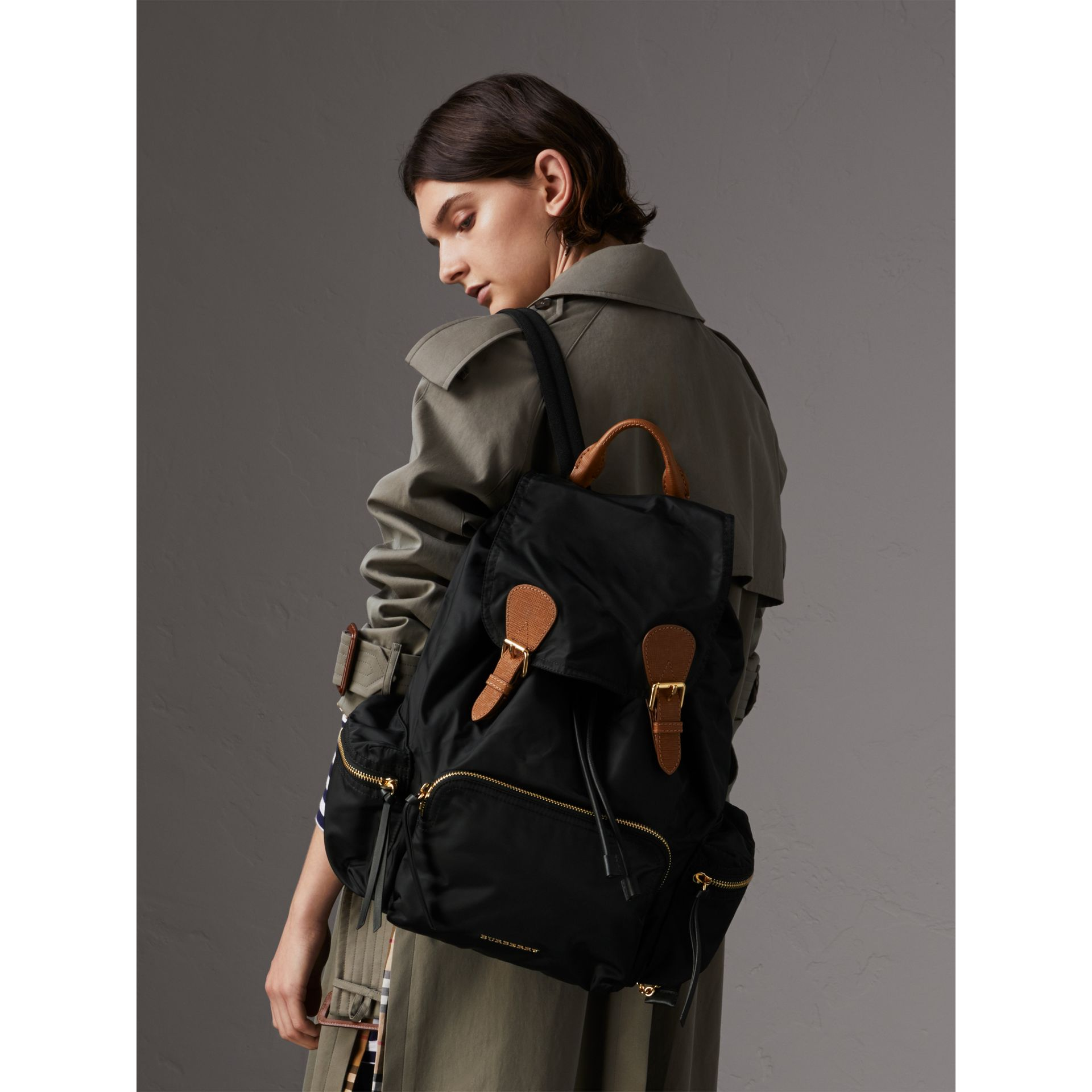 The Large Rucksack in Technical Nylon and Leather in Black - Women | Burberry Singapore - gallery image 2