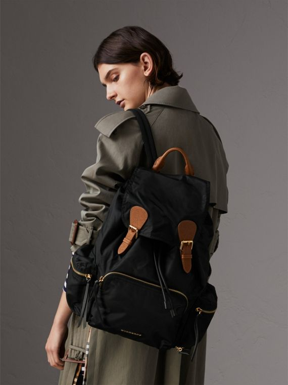 The Large Rucksack in Technical Nylon and Leather in Black - Women | Burberry Australia - cell image 2