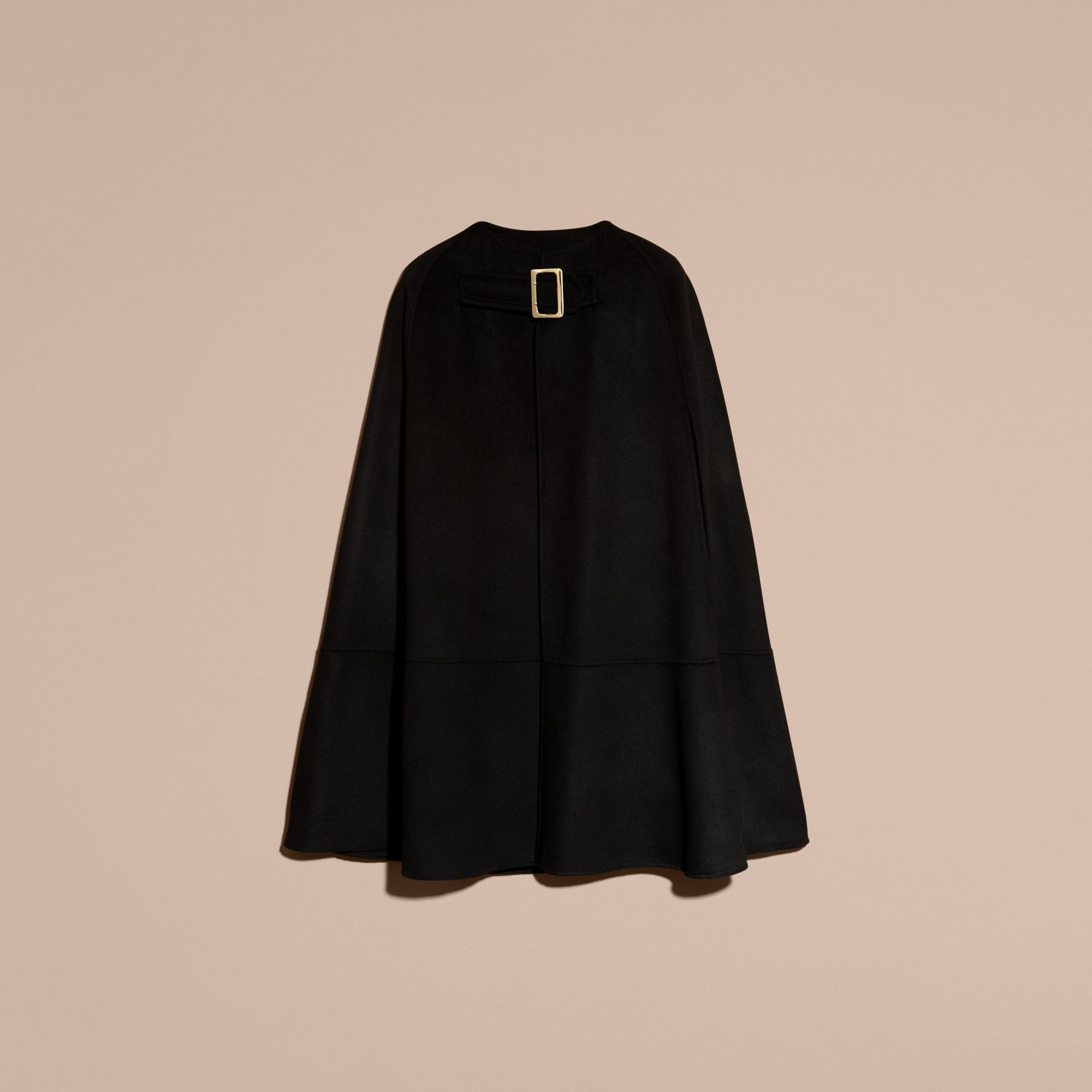 Black Panelled Cashmere Cape with Buckle Detail - gallery image 4