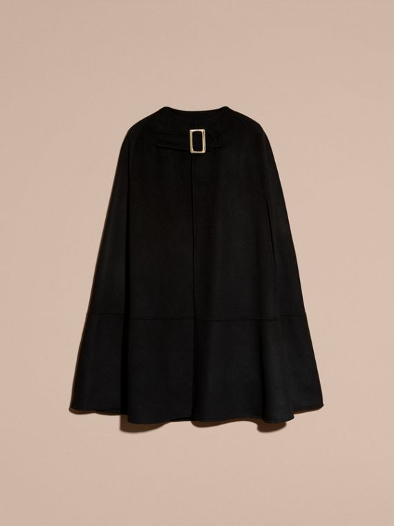 Black Panelled Cashmere Cape with Buckle Detail - cell image 3