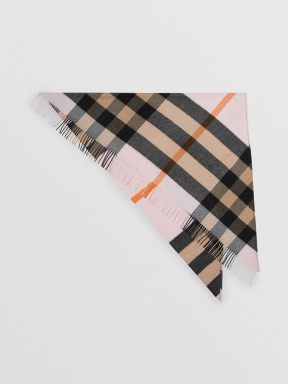 The Burberry Bandana in Check Cashmere in Pale Blossom