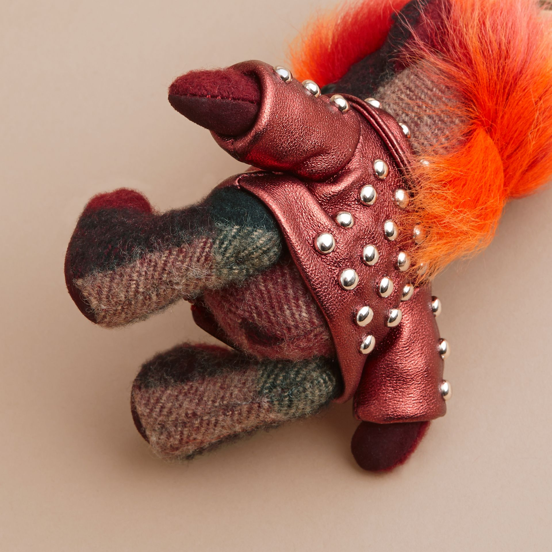 The Punk Thomas Bear Charm in Studded Lambskin Claret - gallery image 4