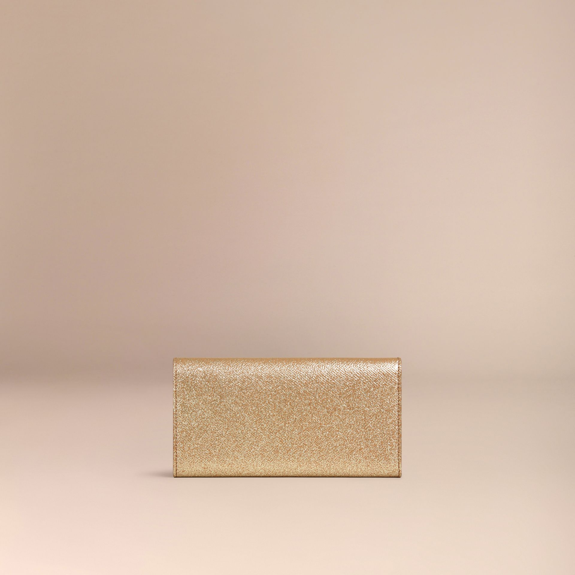 Glitter Patent London Leather Continental Wallet in Camel / Gold - gallery image 4