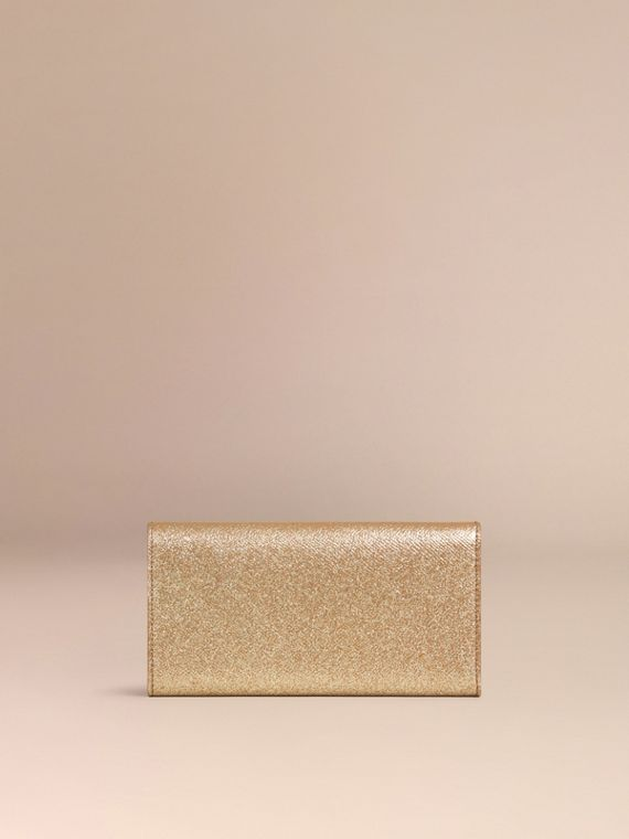 Glitter Patent London Leather Continental Wallet in Camel / Gold - cell image 3