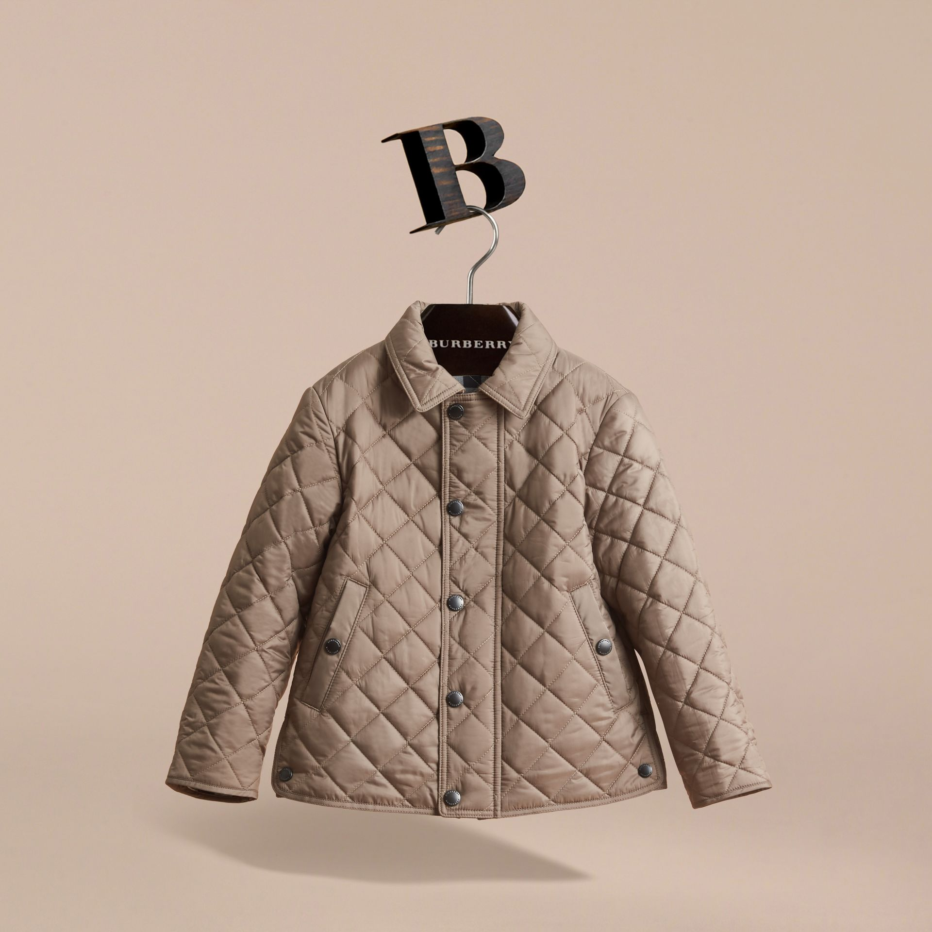 Diamond Quilted Jacket in Dark Mushroom - Boy | Burberry - gallery image 3